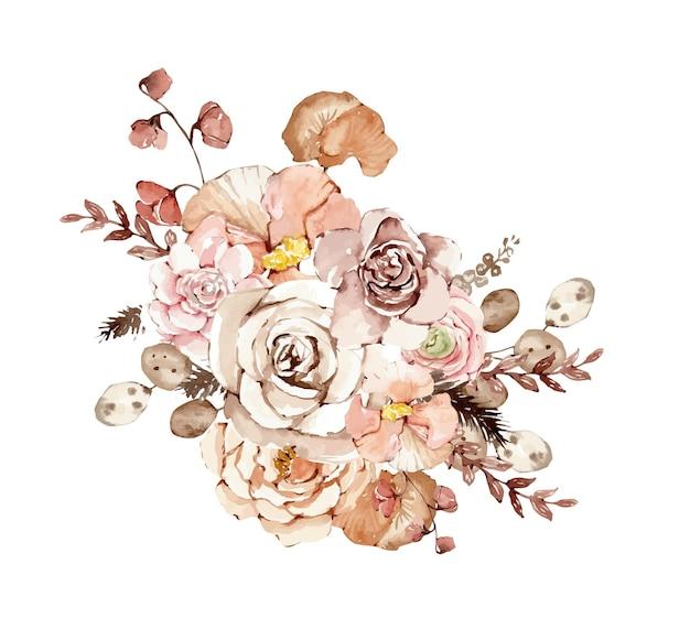 Buquê botânico em aquarela com flores de outono em tons pastel