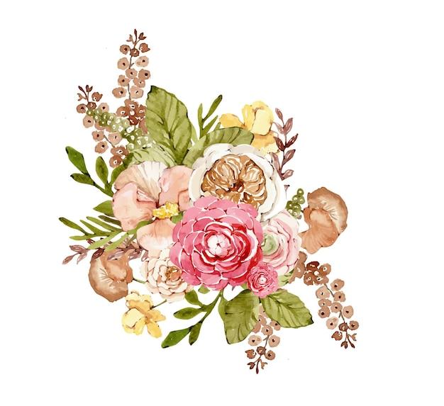 Buquê botânico em aquarela com flores de outono