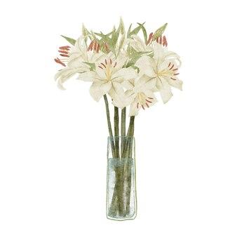 Buquê com arranjo de flores de lírio branco tropical pintado à mão