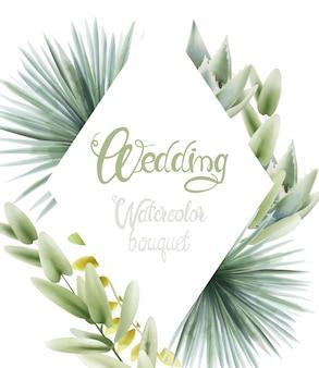 Buquê de aquarela casamento com folhas de palmeira