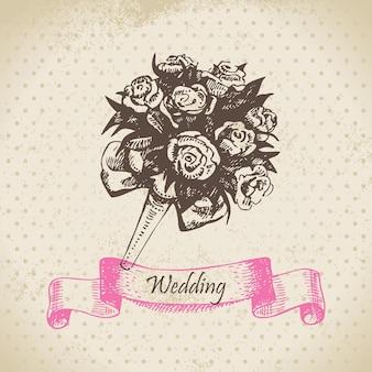 Buquê de casamento. ilustração desenhada à mão