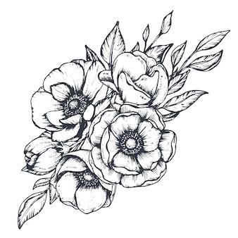 Buquê de composição floral preto e branco de botões de flores e folhas de anêmona desenhada à mão em esboço