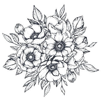 Buquê de composição floral preto e branco de botões e folhas de flores de anêmona desenhada à mão