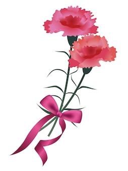 Buquê de cravo com uma fita rosa