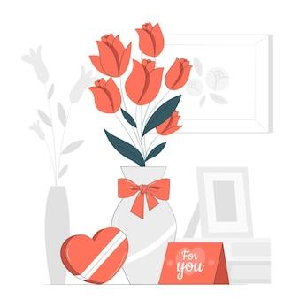 Buquê de dia dos namorados com ilustração do conceito de cartão
