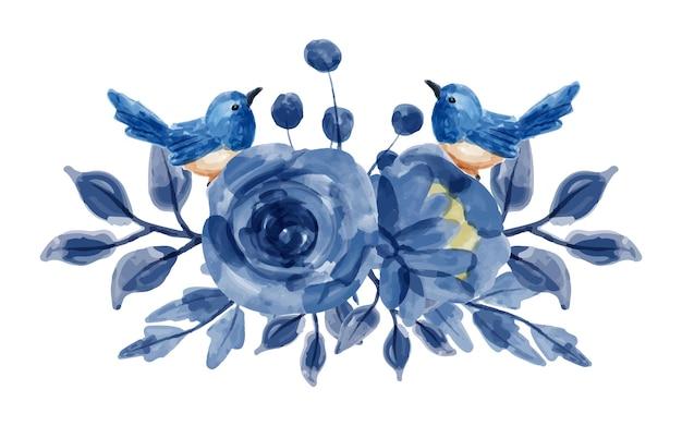 Buquê de flores azuis e pássaros com aquarela