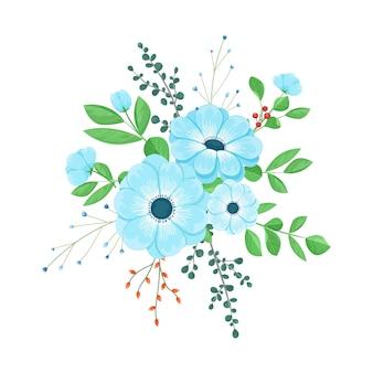 Buquê de flores azuis