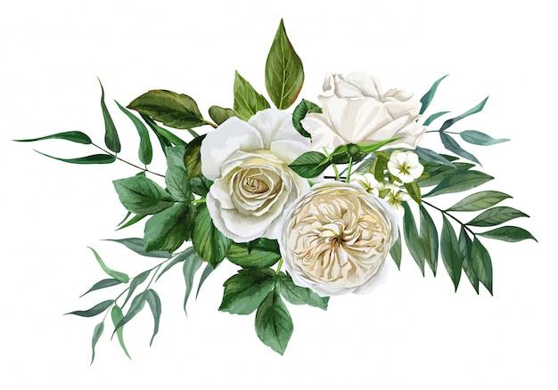 Buquê de flores brancas, rosas e folhas, mão desenhada