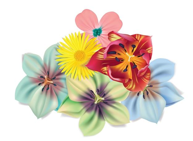 Buquê de flores com camomila, tulipa, violetas.