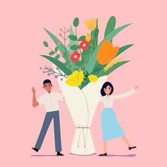 Buquê de flores com homem e mulher. dia dos namorados - ilustração vetorial