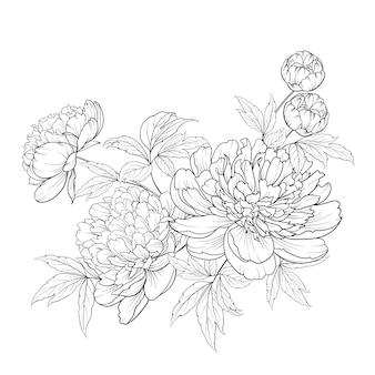 Buquê de flores da primavera de guirlanda de flores de estilo de contorno.