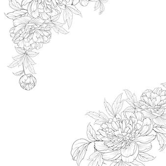 Buquê de flores da primavera de guirlanda de flores de estilo de contorno