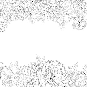 Buquê de flores da primavera de guirlanda de peônia.