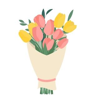 Buquê de flores da primavera e tulipas isoladas
