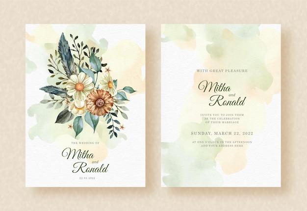 Buquê de flores de beleza e aquarela de folhas no fundo de convite de casamento respingo