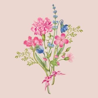 Buquê de flores de cravo rosa em fundo rosa, remixado de obras de pierre-joseph redouté