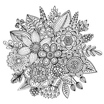 Buquê de flores de mão desenhada, folhas em estilo doodle ornamentado.