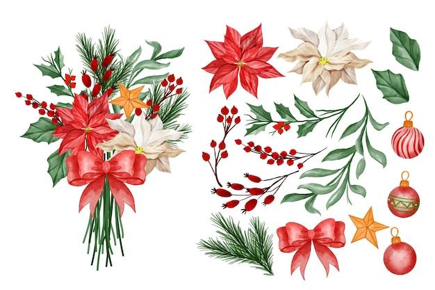 Buquê de flores de natal clipart floral de feliz ano novo