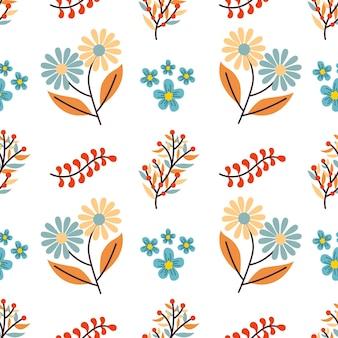 Buquê de flores de outono vetor sem costura de fundo