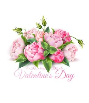 Buquê de flores de peônia realista de vetor para dia dos namorados