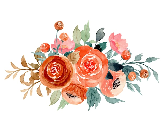 Buquê de flores de pêssego em aquarela