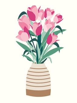 Buquê de flores de tulipas lindas em um vaso Vetor Premium