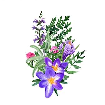 Buquê de flores do campo selvagem com açafrão e trevo