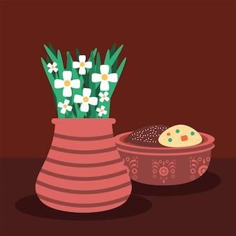 Buquê de flores e biscoitos