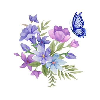 Buquê de flores e folhas em aquarela de primavera com uma linda borboleta