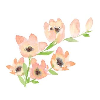 Buquê de flores e folhas em aquarela