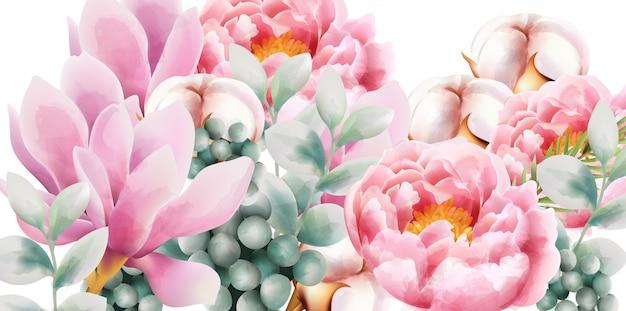 Buquê de flores em aquarela com magnólia e peônia
