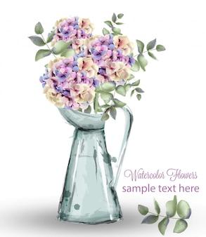 Buquê de flores em aquarela de hortênsias