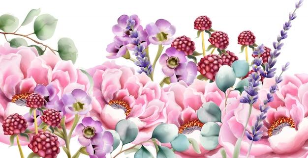 Buquê de flores em aquarela de natureza selvagem