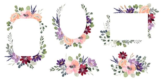 Buquê de flores em aquarela e coleção de quadros