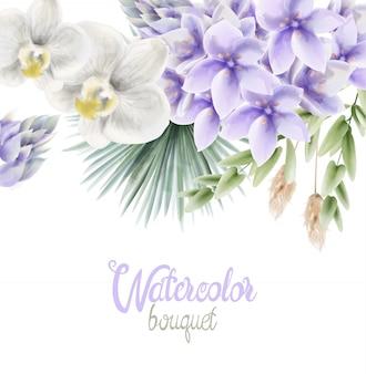 Buquê de flores em aquarela jacinto