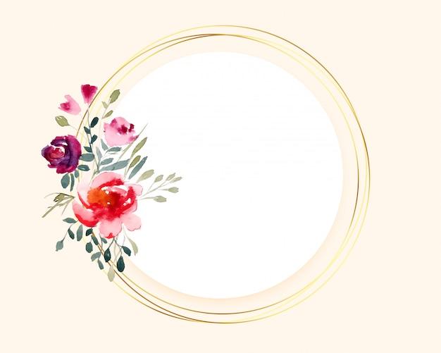 Buquê de flores em aquarela na moldura dourada circular