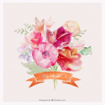 Buquê de flores em estilo aquarela