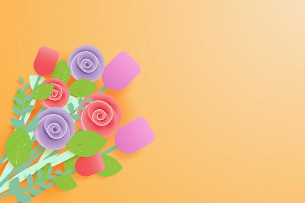 Buquê de flores em fundo laranja em estilo de arte de papel