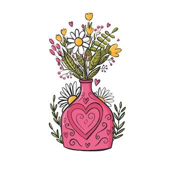 Buquê de flores em um vaso rosa. desenhado à mão, estilo doodle Vetor Premium