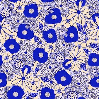 Buquê de flores escandinavas com contorno em preto e branco padrão de repetição perfeita
