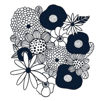 Buquê de flores escandinavas com contorno vetorial arte digital em preto e branco