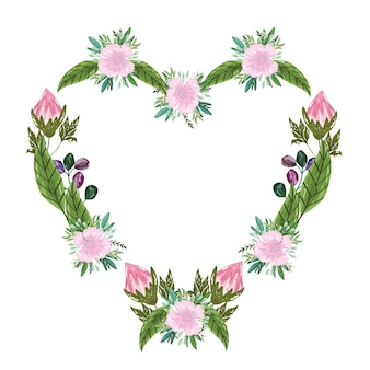 Buquê de flores, moldura floral em forma de coração, pintura de ilustração