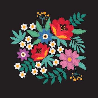 Buquê de flores no jardim. bordado floral projeta design de vetor de moda