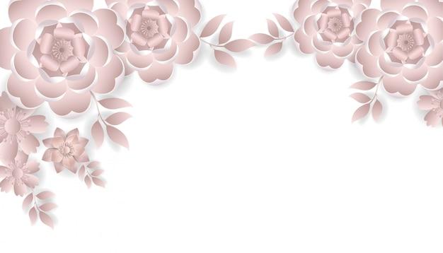 Buquê de flores papel cortado estilo rosa cor