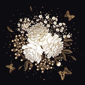 Buquê de flores peônias e borboletas. ouro sobre fundo preto.