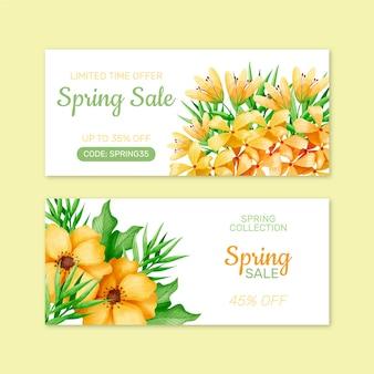 Buquê de flores primavera venda aquarela banner