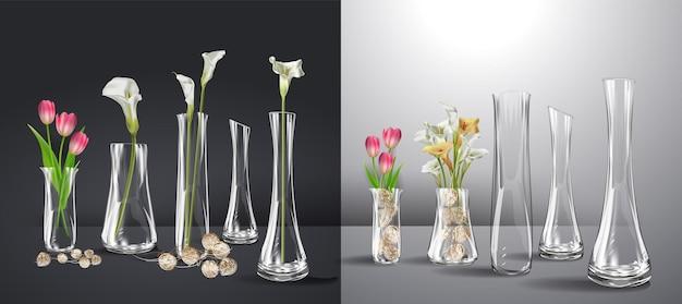 Buquê de flores realista em um copo d'água maquete realista de vaso de vidro vazio