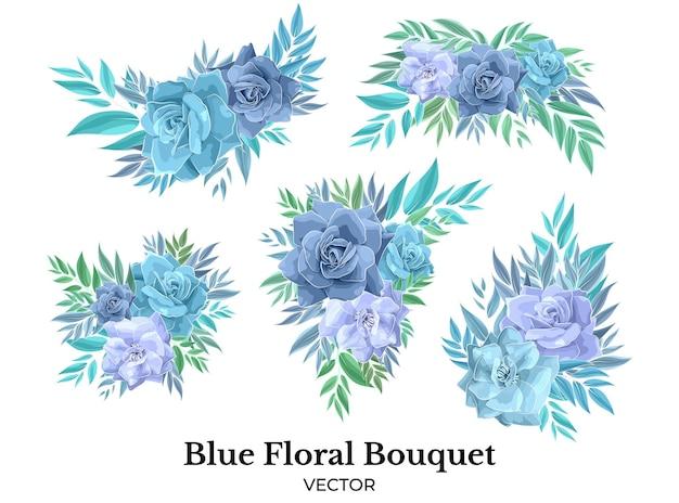 Buquê de flores rosa azul