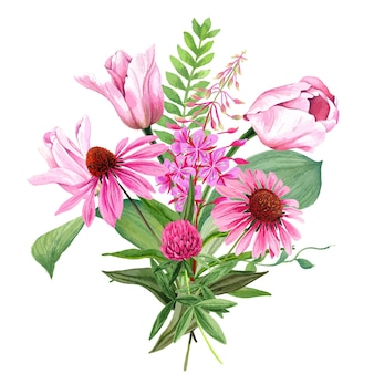 Buquê de flores rosa no jardim com tulipas e trevo