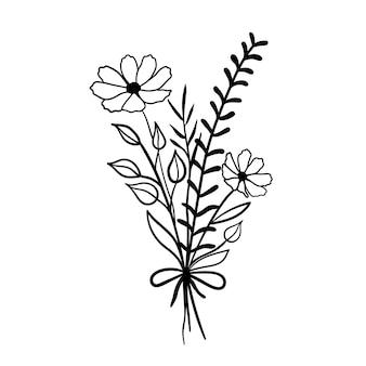 Buquê de flores silvestres em estilo doodle.